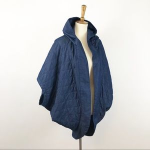 Ecoté Quilted Hooded Denim Cape Jacket